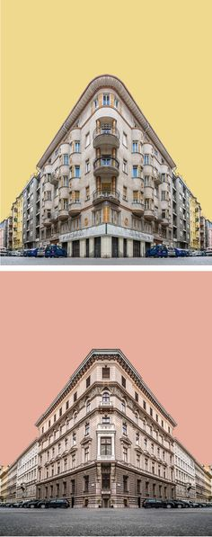 Buildings Transformed into Street Corners with Striking Symmetry Zsolt Hlinka uses digital collage to construct his abstract architecture photography.Zsolt Hlinka uses digital collage to construct his abstract architecture photography. Baroque Architecture, Sketchbook Architecture, Collage Architecture, Art Et Architecture, Amazing Architecture, Architecture Wallpaper, Budapest, Photoshop, Image Swag