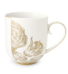 The Royal White china range is delicately crafted with gold & blue colouring. The porcelain large mug made by Pip Studio is decorated with a beautiful palette of colours and motifs in a shabby chic style that would suit any decadant tea party.