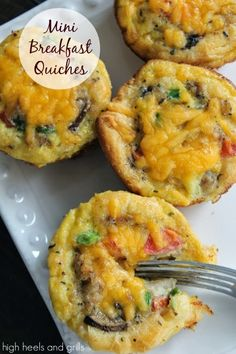 Mini Breakfast Quiches. #easy #recipe http://www.highheelsandgrills.com/2014/01/mini-breakfast-quiches.html