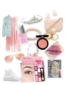 """""""Pink pink pink pink every where"""" by ava-haman on Polyvore featuring Rebecca Minkoff, Converse, Nina, Robert Coin, Forever 21, Ray-Ban, Armani Beauty, Christian Dior and Too Faced Cosmetics"""