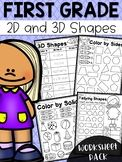 First Grade and Shapes Worksheets - Distance Learning 3d Shapes Worksheets, Shapes Worksheet Kindergarten, First Grade Math Worksheets, Graphing Worksheets, Addition And Subtraction Worksheets, Numbers Kindergarten, 1st Grade Math, Homeschool Kindergarten, Elementary Math