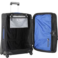 """It's interesting how they have the toiletries bag attached there.  Easy access if security needs to check (I'm probably getting a hardside bag) Nautica Downhaul 20"""" Exp. Spinner - eBags.com"""