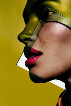 Post Contains: Plexiglass Graphic Colorful Beauty with model Camila Costa, dramatic shadows, graphic makeup, shiny skin, metallic skin, shimmery skin, metallic eyeshadow, artistic beauty ph...