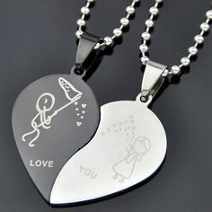 Splendid Men's Women's Stainless Steel Love Heart Shaped Couple Pendant Necklace for Lover's Day Gift 51X9 #Affiliate