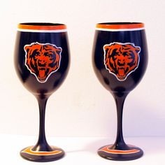 Chicago Bears Inspired Hand Painted Wine by JenniferGuidryDesign