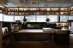 Tsutaya Bookstore, Daikanyama Tokyo, this is the music section with its McIntosh Sound System and Avantguard Duo Speakers, and classic Vinyl shelf above