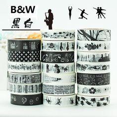 19Designs B&W Ballet/Love/Music/LACE/Flower Pattern Japanese Washi Decorative Adhesive DIY Masking Paper Tape Label Sticker gift #Affiliate