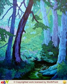 Moorcroft Musings Series -  Forest Glade in Moonlight  by Alida Akers