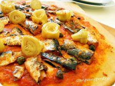 Con pan y postre: Pizza de sardinas en tomate y alcachofas