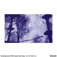 training area with ropes and steps on trees poster