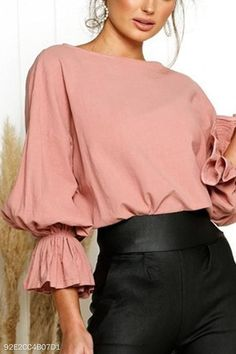 Round Neck Plain Bell Sleeve Blouse For Women Blouse For Women Casual Blouse For Women Work Bell Sleeve Blouse, Bell Sleeves, Casual Skirt Outfits, Summer Blouses, Blouse Outfit, Long Blouse, Ladies Dress Design, Fashion Outfits, Womens Fashion