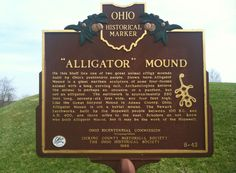 On this bluff lies one of the two great animal effigy mounds built by Ohio's prehistoric people. Shown here, Alligator Mound is a giant earthen sculpture of some four-footed animal with a long, curving tail. Archaeologists believe the animal is perhaps an opossum or a panther, but not an alligator. #NewarkEarthworks #Ohio #Escape2LC