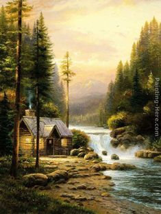 Thomas Kinkade Prints for Sale | Thomas Kinkade Paintings - Thomas Kinkade Evening In The Forest ...