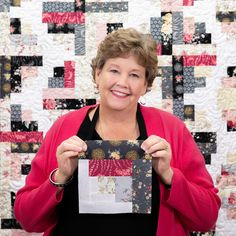 """Take a journey to the River Log Cabin Quilt in this week's tutorial! Jenny is using 1.5"""" and 2.5"""" strips to create movement and flow in her new take on the traditional log cabin quilt block! Watch the free tutorial on the Missouri Star YouTube channel, and create this gorgeous diy quilt!"""