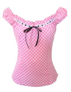 This adorable gingham peasant blouse is made from poly cotton with adjustable drawstring style neckline in white cotton eyelet lace and black satin. Pin Up Outfits, Pretty Outfits, Cool Outfits, Look Rockabilly, Rockabilly Fashion, Girls Fashion Clothes, Fashion Outfits, Womens Fashion, Blouse Styles