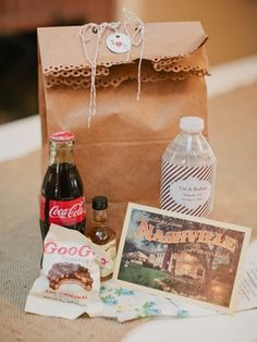 wedding welcome bag: tea packets, water bottles, snackies, map, visitor center shwag