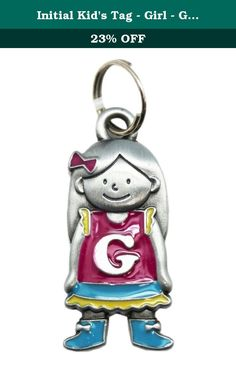 Initial Kid's Tag - Girl - G by Ganz. Embrace the name you were born with! ; Initial keychain charm; Great to place on a keyring; Place on a backpack to personalize it; Ideal for children; Measures 1.5in (4cm) tall and 0.5in (1.3cm) wide.