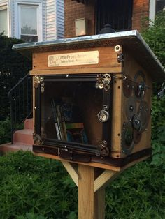 M.G. Bertulfo. Oak Park, IL. Our Little Steampunk Library was a gift created by our neighbors Tony and Linda Lam. They knew our family is into steampunk and instead of fleeing from us, they embraced our weirdness and used it to inspire their Library design. Our whole neighborhood has fallen in love with it, and the Library fills and empties quickly - from the first day we installed it. It is wonderful to step out our front door and talk books with kids and families, and we are very grateful!