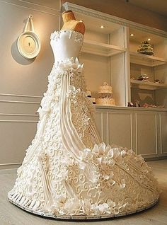 Unique Wedding Cake Ideas - Wedding Dress Cake - It sure looks like a dress.  Would you eat it?