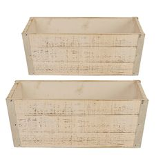 Wald Imports White Wood Planter (Set of 2) | Overstock.com Shopping - The Best Deals on Baskets & Bowls