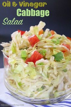 Cabbage Salad with Oil and Vinegar Dressing (Photo Tutorial) Oil & Vinegar Cabbage Salad Recipe Cabbage Salad Recipes, Salad Recipes Video, Slaw Recipes, Healthy Salad Recipes, Veggie Recipes, Real Food Recipes, Cooking Recipes, Healthy Foods, Food Tips