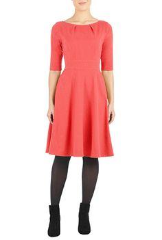 I <3 this Pleat neck cotton knit dress from eShakti