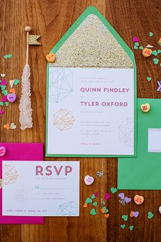 geometric styled wedding invitations // photo by Izzy Hudgins // invites by Miss Pickles Press