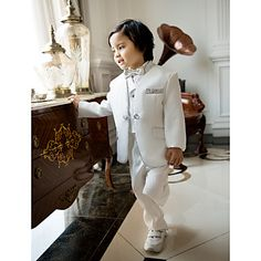 Ring Bearer Suits White With Black Bow Ties, Baptism / Christening (1115577) – USD $ 59.99