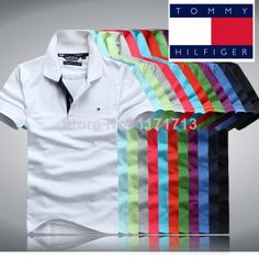Good Quality Brand Logo New Fashion Men Casual Shirt Slim Fit Tops Tees Famous Camisas 3308 € - Mens Casual T Shirts, Men Casual, Mens Tops, Casual Styles, Men Shirts, Shirt Men, Camisa Polo Tommy, Tommy Hilfiger Store, Polo Shirt Outfits