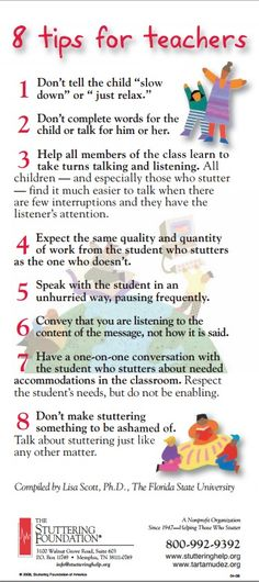 Stuttering Foundation Brochure - 8 Tips for Educators - - Pinned by – Please visit for hundreds of pediatric therapy pins Speech Therapy Activities, Speech Language Pathology, Speech And Language, Parents As Teachers, New Teachers, Classroom Teacher, Teaching Strategies, Teaching Tips, Teacher Hacks