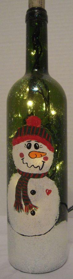 Holiday Lighted Wine Bottle