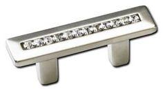 Schaub and Company Pull, Satin Nickel w/crystals 32 mm cc