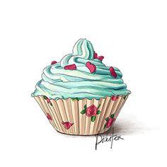 Vintage Roses Blue Cupcake $7