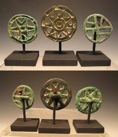 Oxus civilization Bronze Openwork Stamp Seals , Ca. 2600 to 2100 BC. Middle Bronze Age, Namazga-Tepe V-VI, from Western Central Asia.