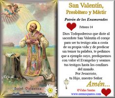 Imágenes de Cecill: Estampita y Oración a San Valentín de Roma, Presbítero y Mártir