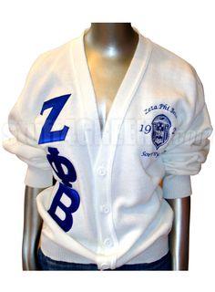 Zeta Phi Beta Greek Letter Cardigan Sweater with Embellished Crest  Item Id: PRE-CSR-ZFB-EMBLCREST_LTR_WHT  Price:  $129.00