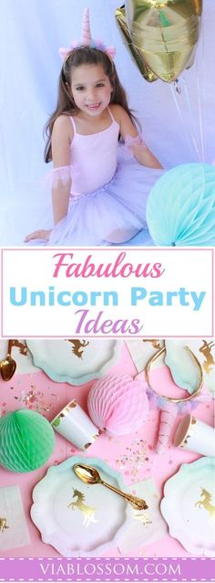 Fabulous Unicorn Party Ideas for a magical Girl Birthday Party!  Get all your Unicorn Party Decorations in one place!