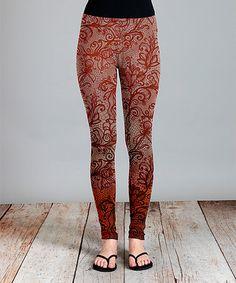 Rust Floral Leggings - Plus #zulily #zulilyfinds