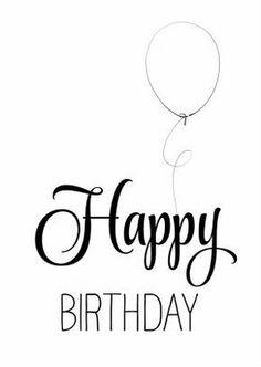 Hippe verjaardagskaart in zwart wit, handlettering Happy Birthday met een getekende ballon. Simpel maar mooi. #happybirthdayquotes