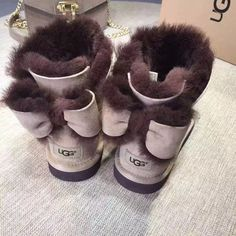 """UGG"" Fashion Winter Women Bowknot Flat Warm Snow Ankle Boots from Love Saved to Luv 😍. Fab Shoes, Comfy Shoes, Cute Shoes, Me Too Shoes, Fur Boots, Bootie Boots, Shoe Boots, Ankle Boots, Cute Uggs"