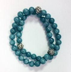 Teal Jade and Repousse Sterling Silver Beads Double Wrap Bracelet by SimplicityDesigned on Etsy