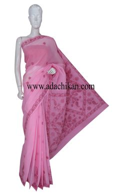 Ada #handembroidered Pink #Cotton #Lucknow #ChikanSaree With Blouse - A220455 - #AdaChikan