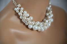 Chunky pearl necklace in white and off white on by bazinedezine, $26.00