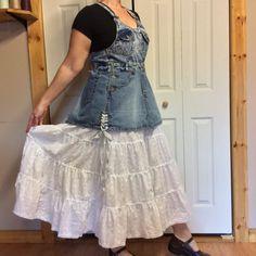 RESERVED XL Jean Bib Overalls Dress/Plus Size 16/Long by sewsomer