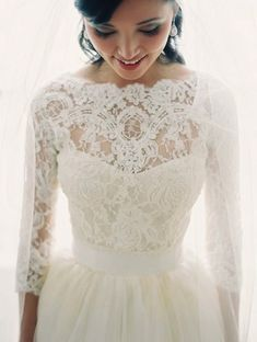 In love with these #lace sleeves! // BrideBox.com - #ClassicBride #WeddingDress