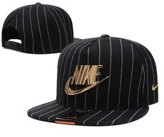 Mens Nike The Classic Nike Iron Gold Metal Logo A-Frame USA 2016 Best  Quality Fashion Leisure Snapback Cap - Black With Stripes bb26cd18c88