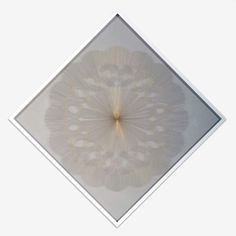 """LIONEL ESTEVE """"Pistil"""" (27) 2006  Yarn on transparent plastic sheet, frame / Collage de fil à broder sur feuille de plastique transparent, encadrement  46 1/2 x 46 1/2 Inches / 118 x 118 cm  unique Collage, Unique, Frame, Artist, Embroidery Thread, Picture Frame, Embroidery, Collages, Artists"""