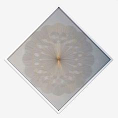 """LIONEL ESTEVE """"Pistil"""" (27) 2006  Yarn on transparent plastic sheet, frame / Collage de fil à broder sur feuille de plastique transparent, encadrement  46 1/2 x 46 1/2 Inches / 118 x 118 cm  unique"""