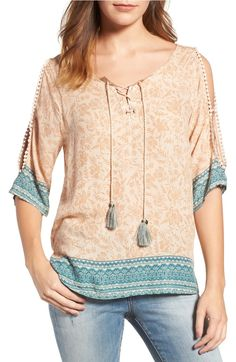 Main Image - Wit & Wisdom Cold Shoulder Lace-Up Top (Nordstrom Exclusive)