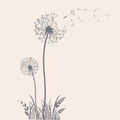 Dandelion Vinyl Wall Decal Flower Decal por TheDecalGirl en Etsy                                                                                                                                                                                 Más